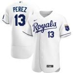 Men's Kansas City Royals #13 Salvador Perez Nike White Home 2020 Authentic Player MLB Jersey