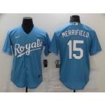 Men's Kansas City Royals #15 Whit Merrifield Nike Light Blue Alternate 2020 Coolbase Jersey
