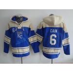 MLB Kansas City Royals #6 Lorenzo Cain Blue All Stitched Hooded Sweatshirt
