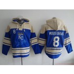 MLB Kansas City Royals #8 Mike Moustakas Blue All Stitched Hooded Sweatshirt