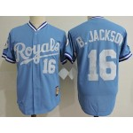 Men's Throwback Kansas City Royals #16 Bo Jackson Sky Blue Cooperstown Collection MLB Jersey