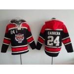 MLB Detroit Tigers #24 Miguel Cabrera Black All Stitched Hooded Sweatshirt