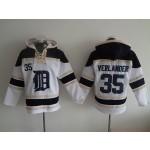 MLB Detroit Tigers #35 Justin Verlander White All Stitched Hooded Sweatshirt