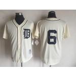 Men's Throwback Detroit Tigers #6 Al Kaline Cream 1968 Mitchell & Ness Jersey
