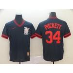 MLB Minnesota Twins #34 Kirby Puckett Navy Nike Throwback Jersey