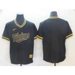 MLB Minnesota Twins Blank Black Gold Nike Cooperstown Collection Jersey