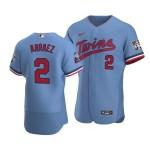 Men's Minnesota Twins #2 Luis Arraez Nike Light Blue Alternate 2020 60th Season Authentic Team MLB Jersey