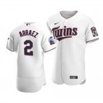 Men's Minnesota Twins #2 Luis Arraez Nike White Home 2020 60th Season Authentic Team MLB Jersey