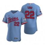 Men's Minnesota Twins #22 Miguel Sano Nike Light Blue Alternate 2020 60th Season Authentic Team MLB Jersey