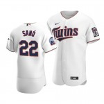 Men's Minnesota Twins #22 Miguel Sano Nike White Home 2020 60th Season Authentic Team MLB Jersey