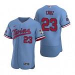 Men's Minnesota Twins #23 Nelson Cruz Nike Light Blue Alternate 2020 60th Season Authentic Team MLB Jersey