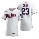 Men's Minnesota Twins #23 Nelson Cruz Nike White Home 2020 60th Season Authentic Team MLB Jersey