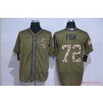 MLB Chicago White Sox #72 Carlton Fisk Olive 2020 Nike Cool Base Jersey