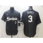 Chicago White Sox #3 Harold Baines Black 2021 City Connect Cool Base Jersey(number on front and back)