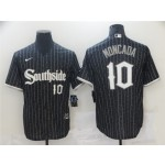 Chicago White Sox #10 Yoan Moncada Black 2021 City Connect Cool Base Jersey(number on front and back)