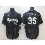 Chicago White Sox #35 Frank Thomas Black 2021 City Connect Cool Base Jersey(number on front and back)