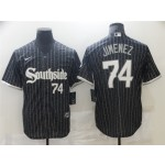 Chicago White Sox #74 Eloy Jimenez Black 2021 City Connect Cool Base Jersey(number on front and back)