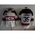 MLB Chicago White Sox #35 Frank Thomas White Alternate All Stitched Hooded Sweatshirt