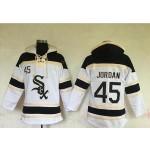 MLB Chicago White Sox #45 Michael Jordan White All Stitched Hooded Sweatshirt