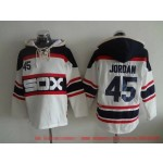 MLB Chicago White Sox #45 Michael Jordan White Alternate All Stitched Hooded Sweatshirt