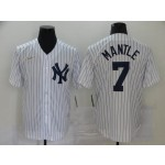 MLB New York Yankees #7 Mickey Mantle White Nike Gold Cool base Jersey