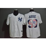 MLB New York Yankees #99 Aaron Judge White with Team Logo Nike Cool Base Jersey