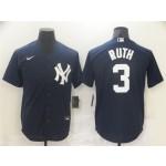 Men's New York Yankees #3 Babe Ruth Navy Cool Base Jersey