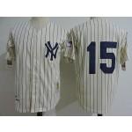 Men's Throwback New York Yankees #15 Thurman Munson Cream no Name 1939 Mitchell & Ness Jersey