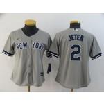 Women New York Yankees #2 Derek Jeter Grey 2020 Nike Cool Base Jersey