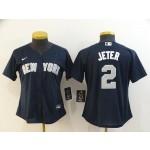 Women New York Yankees #2 Derek Jeter Navy 2020 Nike Cool Base Jersey