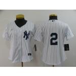 Women New York Yankees #2 Derek Jeter White with no name 2020 Nike Cool Base Jersey
