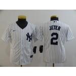 Youth New York Yankees #2 Derek Jeter White 2020 Nike Cool Base Jersey