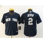 Youth New York Yankees #2 Derek Jeter Navy 2020 Nike Cool Base Jersey