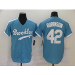MLB Los Angeles Dodgers #42 Jackie Robinson Light Blue Nike Gold Cool Base Jersey