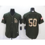 MLB Los Angeles Dodgers #50 Mookie Betts Olive 2020 Nike Cool Base Jersey