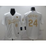 Los Angeles Dodgers #8 & 24 Kobe Bryant White Gold 2020 Nike KB Cool Base Jersey