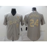 Los Angeles Dodgers #8 & 24 Kobe Bryant Grey Gold 2020 Nike KB Cool Base Jersey