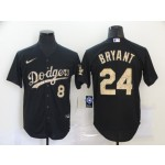 Los Angeles Dodgers #8 & 24 Kobe Bryant Black Gold 2020 Nike Cool Base Jersey