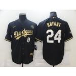 Men's Los Angeles Dodgers #8 #24 Kobe Bryant Black Gold Stitched MLB Cool Base Nike Jersey