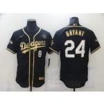 Men's Los Angeles Dodgers #8 #24 Kobe Bryant Black Gold Stitched MLB Flex Base Nike Jersey