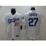 Men's Los Angeles Dodgers #27 Trevor Bauer White Stitched MLB Flex Base Nike Jersey