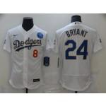 Men's Los Angeles Dodgers #24 Kobe Bryant White Gold 2021 Gold Program Flexbase Jersey