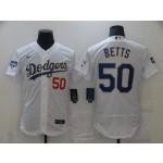 Men's Los Angeles Dodgers #50 Mookie Betts Nike White Gold 2021 Gold Program Flexbase Jersey