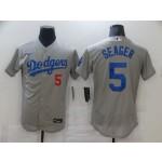 Nike Men's Los Angeles Dodgers #5 Corey Seager Gray Flexbase Jersey