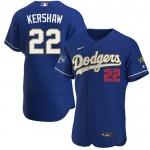 Men's Los Angeles Dodgers #22 Clayton Kershaw Royal Blue Championship 2021 Gold Program FlexBase Sttiched MLB Jersey