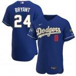 Men's Los Angeles Dodgers Front #8 Back #24 Kobe Bryant Royal Blue Championship 2021 Gold Program FlexBase Sttiched MLB Jersey