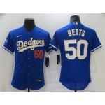 MLB Los Angeles Dodgers #50 Mookie Betts Royal Nike 2021 Gold Program Flexbase Jersey