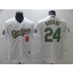 Men's Los Angeles Dodgers #8-24 Kobe Bryant White Mexico Flag Themed World Series Jersey