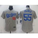 Men's Los Angeles Dodgers #55 Albert Pujols Alternate Gray Flex Base Jersey