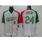 Los Angeles Dodgers #8-24 Kobe Bryant White Mexican Heritage Culture Night Jersey